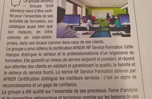 Groupe Si2A certifié NF Service Formation